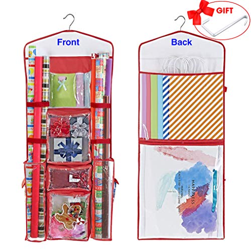 ProPik Hanging Double Sided Wrapping Paper Storage Organizer with Multiple Front and Back Pockets Organize Your Gift Wrap, Gift Bags Bows Ribbons 40X17Fits 40 Inch Rolls Red White and Clear PVC Bag