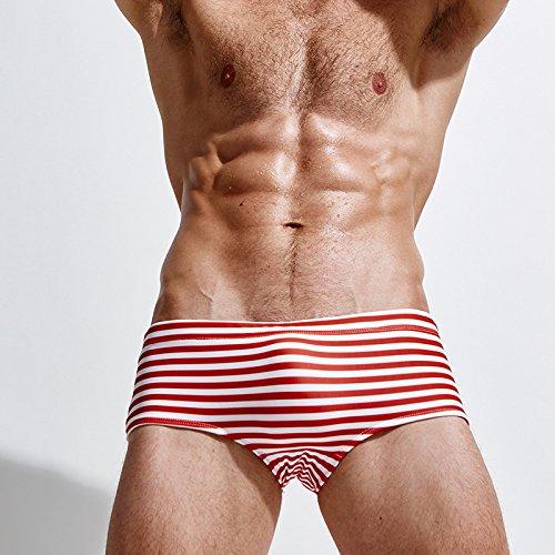 ZQ@QXBoxer rayé hommes maillot de bain confortable en nylon,XXL