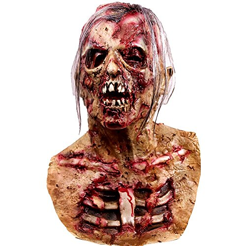 molezu Walking Dead Full Over Head Mask, Resident Evil Monster Mask, Bloody Zombie Costume Party Rubber Latex Mask for Halloween