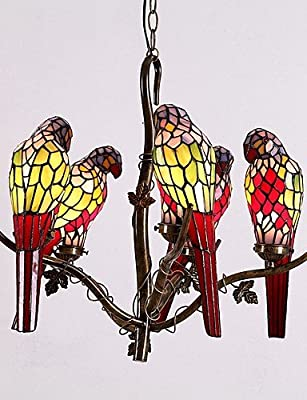 qiuxi High-end fashion Interior Ceiling lamp Parrot Chandelier, Style with 5 Lights , yellow-110-120v