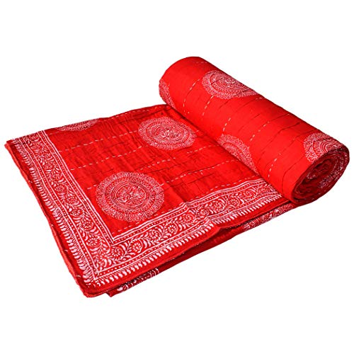 Third Eye Export Hand Made Cotton Indian Kantha Quilted Kantha Quilt Bed Spread Blanket Throw Indian Queen Size White Base Size 90