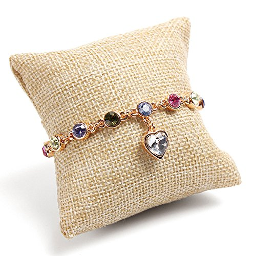 Daycount 10 Pcs Small Jewelry Pillow Cushion Bracelet Bangle Wrist Watch Jewelry Display Holder Showcase (Beige)