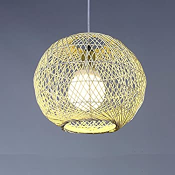 XHOPOS Home Pendant Lights Modern Simple Rattan Arts Creative Braided Restaurant bedrooms Clothing Retro Lighting 5W Warm Light LED 30x25cm