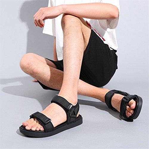 42 Colore Nero Antiscivolo Sandali Da Spiaggia da Dimensione EU Per Uomo Sportivi spiaggia Scarpe Wagsiyi Pelle pantofole Da In Nero Traspiranti gZfaxXwUnq