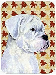 Boxer blanco tablero de corte de vidrio hojas de otoño retrato grande