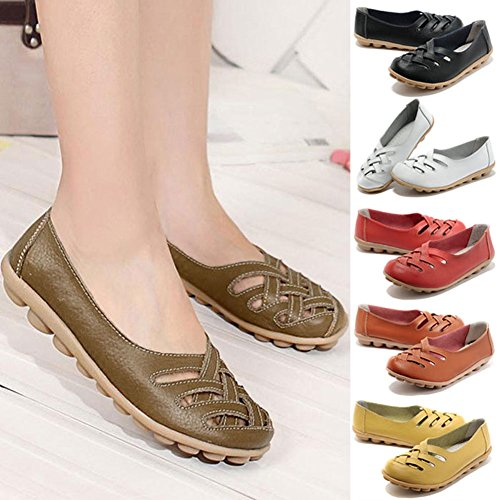 939d6b62f6e FUNOC Womens Ladies Casual Cut Out Leather Loafers Flat Shoes Moccasin  Sandals - Buy Online in UAE.
