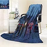 VROSELV Luminous Microfiber Throw Blanket street with cars in rain road view through car window Glow In The Dark Constellation Blanket, Soft And Durable Polyester(60''x 50'')