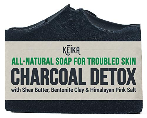 Charcoal Black Soap Bar with Shea Butter for Face, Acne, Blackheads, Eczema, Psoriasis | 100% All-Natural Vegan. Fragrance-Free. Non-GMO. Handmade. Facial Cleanser Soap for Oily Skin. 5 oz. (Best Soap Or Face Wash For Oily Skin)
