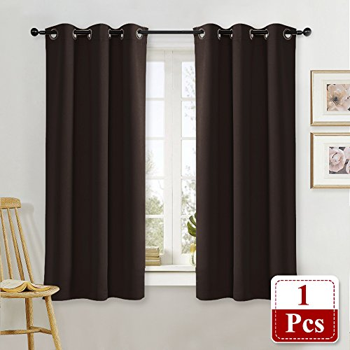 NICETOWN Thermal Insulated Blackout Curtain and Drapery Triple Weave Soundproof Solid Ring Top Window Drape for Bedroom (Sold Individually, 42 Inch by 63 Inch, Toffee Brown) (Top Drape Pole)