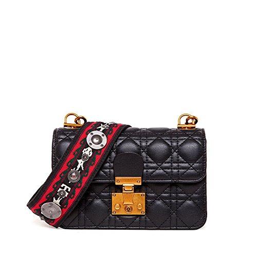 Simple rétro Serrure Larges Bretelles épaule carrée PU Sac à bandoulière Messenger Bag, Noir Loisirs