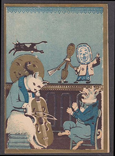 Mother Goose nursery rhyme trade card Hey Diddle Diddle characters 1880s