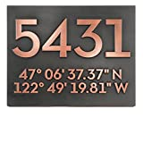 Latitude Longitude Address Number Plaque 14x11 - Raised Copper Metal Coated Sign