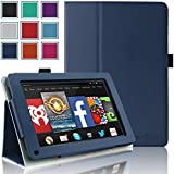 Kindle Fire 1st & 2nd Generation Cover Case - HOTCOOL Slim New PU Leather Case For Amazon Original Kindle Fire 2011 (Previous Generation - 1st) And Kindle Fire 2012 (Previous Generation - 2nd) Tablet(Will not fit HD or HDX models), Navy Blue