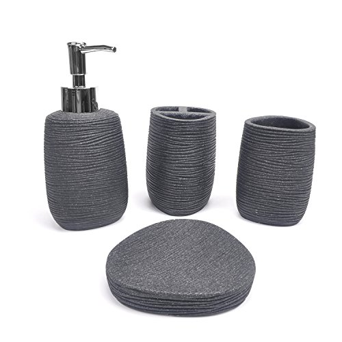 Evelyne GMT-10004-BK Resin Sandstone Bathroom Amenity Accessory Set included Dispenser, Soap Tray, Toothbrush Holder and Tumbler