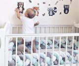 Focussexy 300cm Plush Crib Bumper Infant Baby Bed Cot Nursery Cradle Braid Cushion Protector