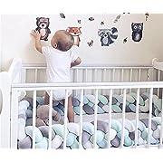 Focussexy 300cm Plush Crib Bumper Infant Baby Bed Cot Nursery Cradle Braid Cushion Protector