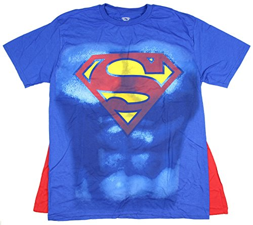 [DC Comics Superman Muscle and Cape Costume T-shirt Large/Blue] (Mens Tshirt Superman Costumes)