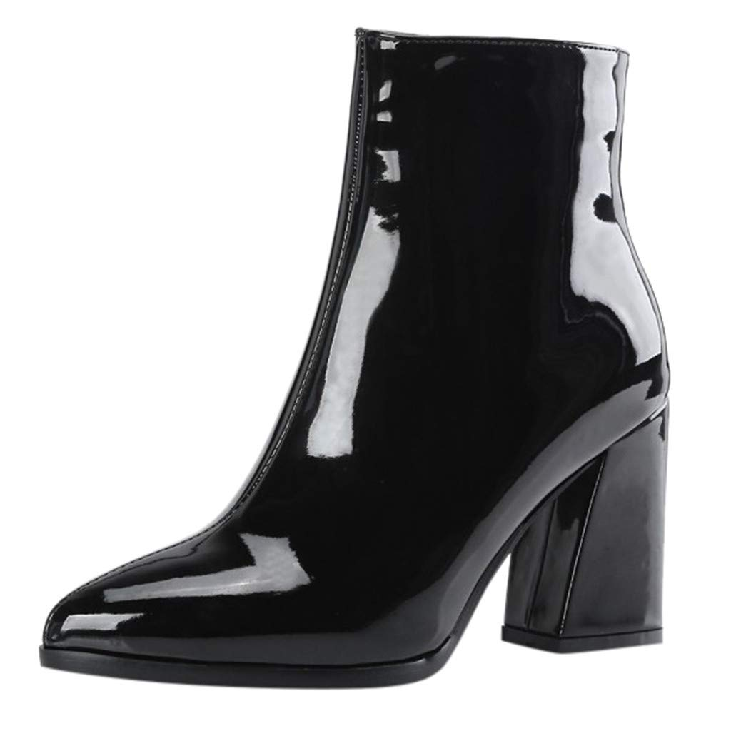 Kauneus Womens Mirror Patent Leather Party Dress Ankle Boots Pointed Toe Side Zipper Chunky Heel Fashion Mid Calf Boots Black by Kauneus Fashion Shoes