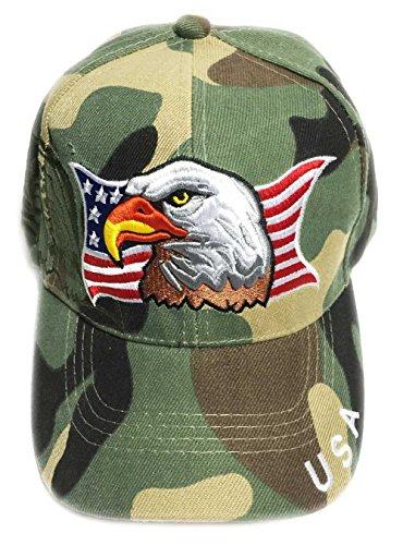 - Aesthetinc Patriotic American Flag Print Baseball Cap with USA (Camo)