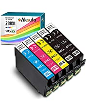 Akouta Remanufactured Ink 288 XL Compatible Ink Cartridges for 288XL High Yield for Expression Home XP-330 XP-340 XP-430 XP-434 XP-440 XP-446 Printer 5 Pack Replacement (Upgraded Version 2BK/1C/1M/1Y)