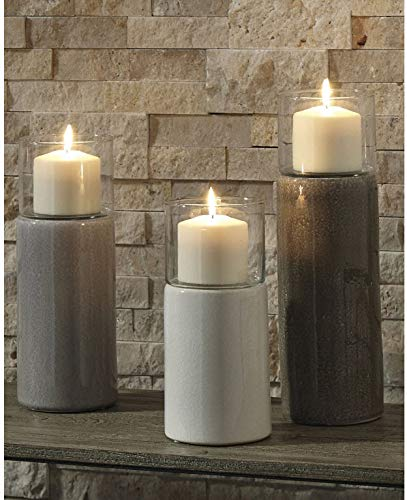 Contemporary Ashley Furniture Signature Design Set of 3 Gray//White//Brown Deus Candle Holder