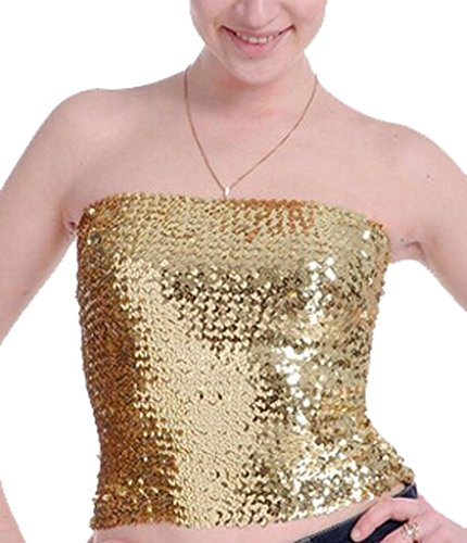 (Alivila.Y Fashion Sparkling Sequins Stretch Party Tube Top A11-Gold)