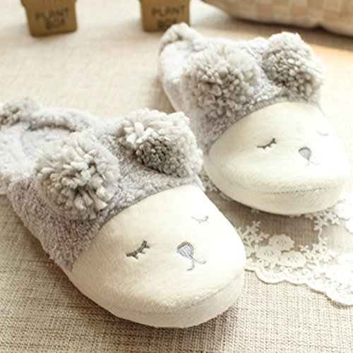 Beacon Pet Cartoon Cute Sheep Anti-Skid Slippers For Women Fun Plush Indoor Shoe Warm Anti-Slip House Slippers For Women, Girls (US 7-8, Grey)