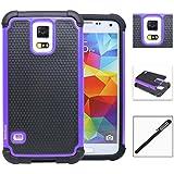 Samsung Galaxy S5 Case, INNOVAA Smart Grid Defender Armor Case W/ Touch Screen Stylus Pen - Purple