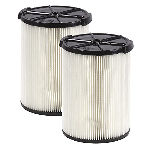 RIDGID 1-Layer Everyday Dirt Pleated Paper Filter for 5.0 Plus Gallon RIDGID Wet Dry Vacs (2-Pack) by Ridgid