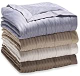 250 Thread Count Microfiber Reverse to Fleece Goose Down Alternative Blanket (Twin 68''x90'', khaki)