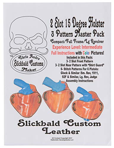 Holster 3 Pattern Master Pack from Slickbald Custom Leather, 2 Slot 15 Degrees, Compact/Full Frame/Large Revolver