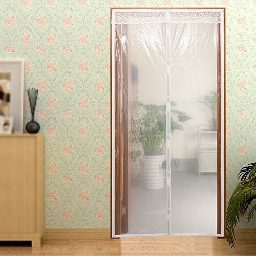 Transparent Magnetic Screen Door Curtain Prevent Air Conditioning Loss Help Saving Electricity & Money,Enjoy Cool Summer & Warm Winter,Thermal and Insulated Auto Closer Door Curtain Fits Door 34