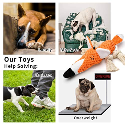 Sedioso Plush Dog Toy,Interactive Stuffed Fox Dog Toys for Boredom,Cute Squeaky Dog Chew Toys for Puppy,Small,Medium,Large Breed