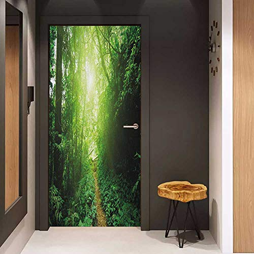 Onefzc Soliciting Sticker for Door Landscape A Way in The Jungle of Malaysia Rainforest Fresh Grass Trees Rural Morning Scenery Mural Wallpaper W31 x H79 Green (Best Car Lock Malaysia)