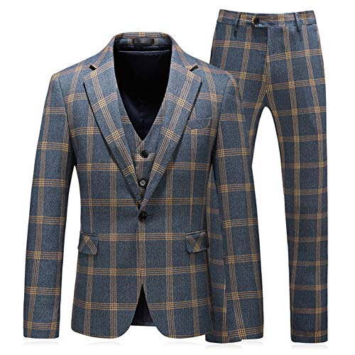 Yellow Windowpane - MOGU Mens 3 Piece One Button Slim Fit Windowpane Suits US Size 40 (Asian 3XL/56) Yellow