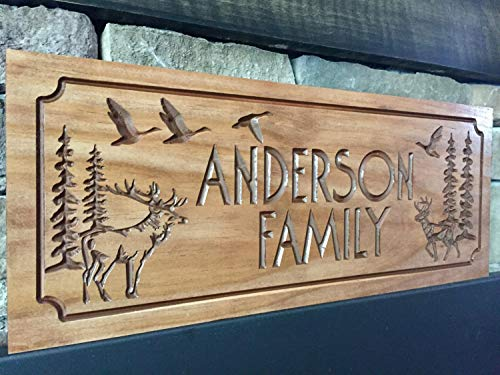 Ruskin352 Wooden Printed Wood Sign Sign Cabin Sign Address Plaque Welcome Sign Ranch decor elk deer ducks Hunting Wood Wall Art Camp Sign Benchmark Sign s