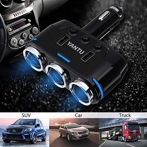 - 3 Way Car Cigarette Lighter Socket Splitter Adapter Dual USB Port Charger LED