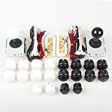 EG Starts Arcade DIY Kits Controller USB Encoder To PC Games 2 5Pin 8 Way Sticker + 20x Push Buttons ( 2.8mm Terminal )For Arcade Joystick Mame Raspberry Pi 1 2 3 KOF Parts White / Black