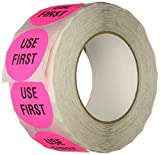 """TapeCase Pink """"Use First"""" Inventory Control Label - 1000 per pack (1 Pack)"""
