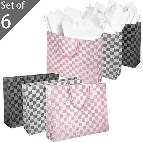 Pack of 6 Medium Metallic Checkered Pattern Gift Bags for Weddings, 15 X 12 Inch