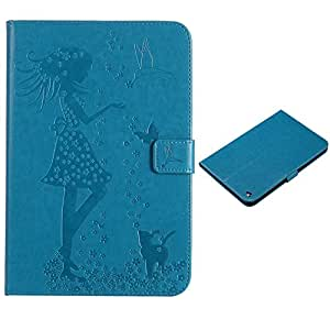 "9.7"" iPad Mini 4 Case,Akristal Cards Holder Stand Case with Auto Wake / Sleep,Embossed PU Leather Smart Cover Flip Folio Protective Cover for Apple iPad Mini 4,Blue"