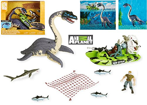 EXCLUSIVE Animal Planet - DEEP SEA DINO ADVENTURE PLAYSET ELASMOSAURUS - Includes an Elasmosaurus, an Articulated Human Figure, an Air Boat, a Net, 3 Tuna Fish and 1 Ichthyosaur - Exclusive Tuna Fish