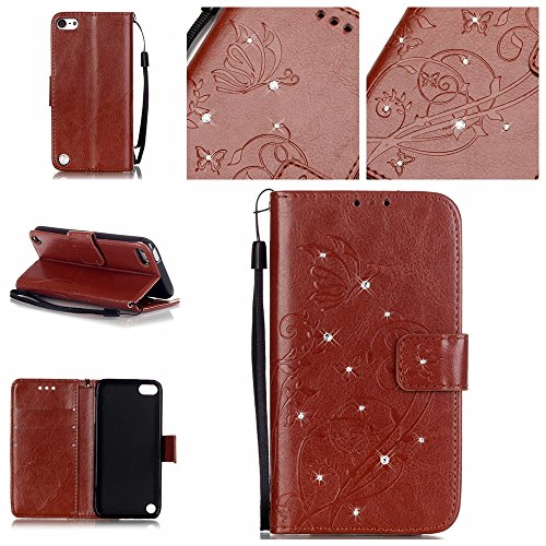 iPod Touch 5 Case,iPod Touch 6 Case,LEECOCard Holder Slot Pocket 3D Butterfly Wallet Cover Kickstand Flip Folio Magnet Leather PU Protective Case for Apple iTouch 5th / 6th [Crystal] - Brown Ipod