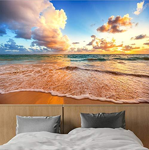 3D Wall Decorations Stickers Murals Wallpaper Beautiful Sky Beach Waves Landscape Living Room Bedroom Background Decor Art Girls Bedroom (W)140X(H)100Cm from VVNASD