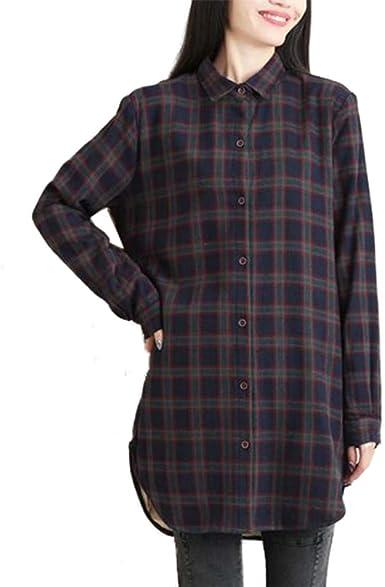 Haililais Camisa Midi de Mujer Blusas Cuadros Puro Algodón Túnica Manga Larga Ocasionales Camisetas Solapa Tops Grueso más Terciopelo Shirt Cálido: Amazon.es: Ropa y accesorios