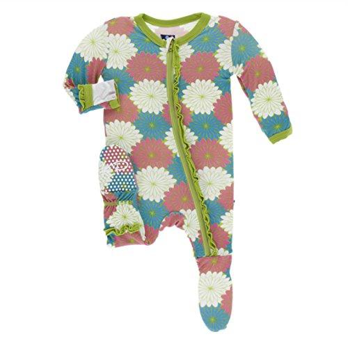 Kickee Pants Little Girls Print Muffin Ruffle Footie with Zipper - Tropical Flowers, 18-24 Months