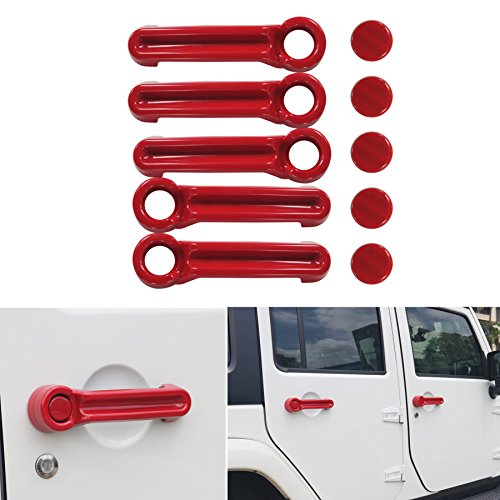 AVOMAR 5PCS ABS Paintable Door Handle Cover Kit and Tailgate Handle Cover For 07-17 Jeep Wrangler JK / 08-12 Jeep Liberty / 07-11 Dodge Nitro - Liberty Jeep Red