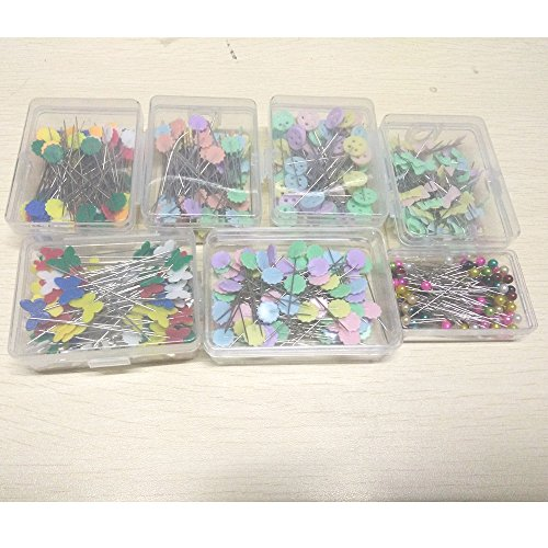 YICBOR 100Pcs/Box Sewing Accessories Patchwork Pins Flower/Bow tie/Button/Butterfly/Bead Pin 7Box Sewing Tool Needle by YICBOR