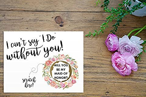 Scratch Off BRONZE I can't say I Do without you Card - Maid of Honor, Matron of Honor, Bridesmaid Ask Card with Metallic Envelope. Will you be my bridesmaid? - Metallic Knot