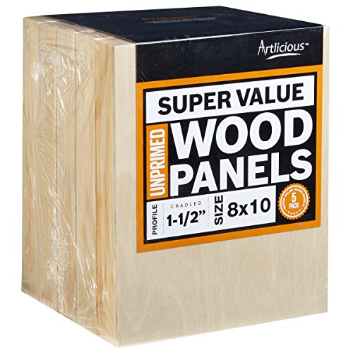 Artlicious 8x10 Super Value Wood Panel Boards for Art Painting 5 Pack - 1-1/2'' Gallery Profile by Artlicious